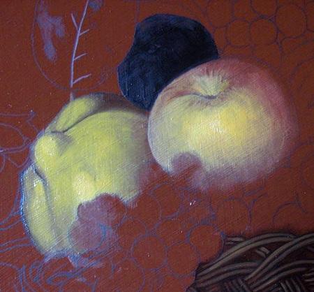 Canestra di Frutta di Caravaggio - Abbozzo della Mela e del Melacotogno