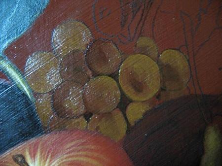 Canestra di Frutta di Caravaggio - Abbozzo dell'Uva Secca