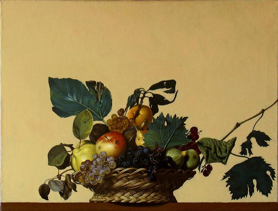Canestra di frutta di caravaggio disegno pittura for Cesto di frutta disegno