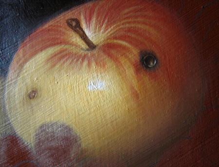 Canestra di Frutta di Caravaggio - Completamento della mela
