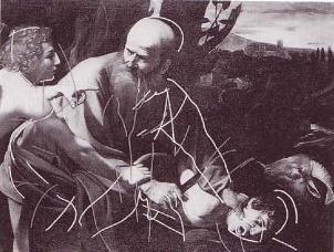Incisioni nel Sacrificio di Isacco di Caravaggio
