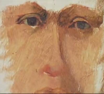 Intorno a occhi di una maschera con crema aspra