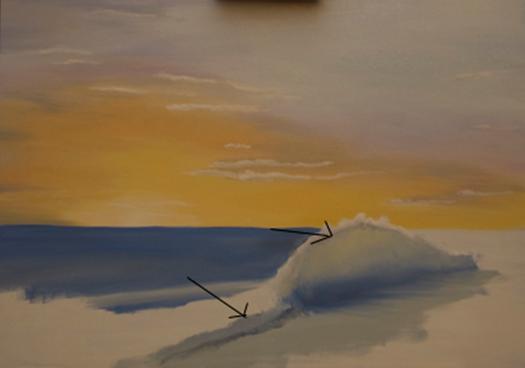Dipingere il mare con nave al tramonto