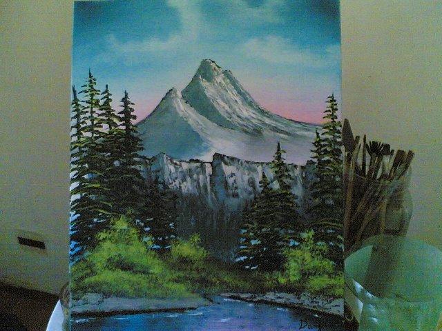 Paesaggio ad olio disegno pittura for Foto di alberi da colorare