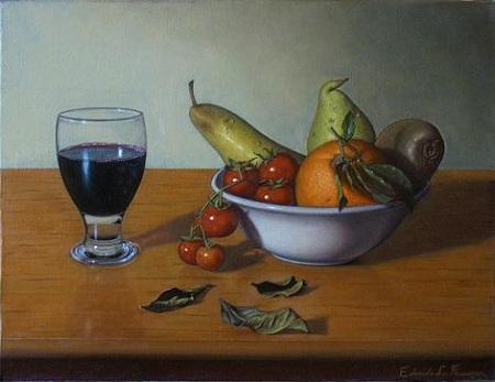 Natura Morta con Frutta e Bicchiere di Vino