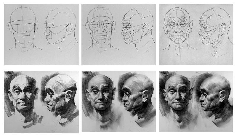 Come disegnare i piani facciali in un ritratto disegno for Come disegnare piani di costruzione