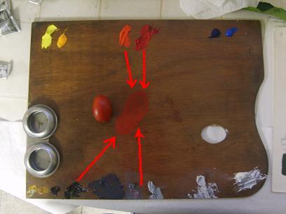 Mescolare colore rosso pomodoro