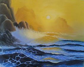 Paesaggio marino al tramonto disegno pittura for Paesaggi semplici da disegnare