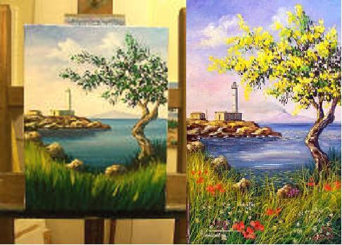 Underpainting Paesaggio a colori