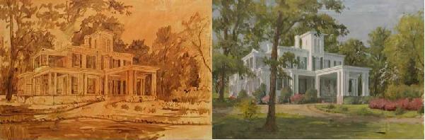 Underpainting Paesaggio in terra d'ombra bruciata