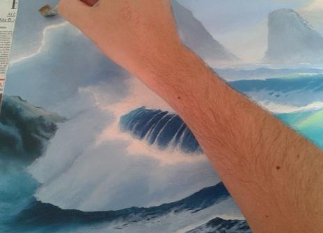 Verniciare un dipinto - prima mano