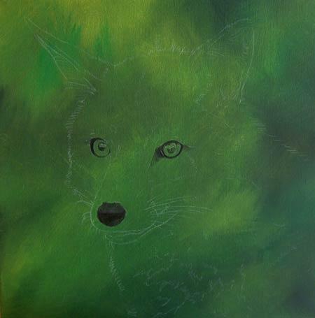 Dipingere una volpe ad acrilico - Definizione occhi e naso
