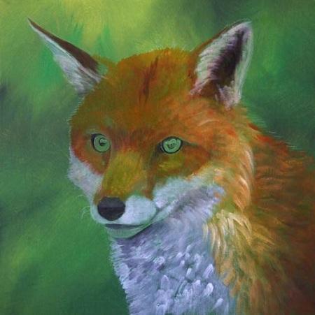 Dipingere una volpe ad acrilico - Abbozzo del manto